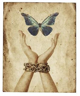 Chained wrists and hands reaching for blue butterfly