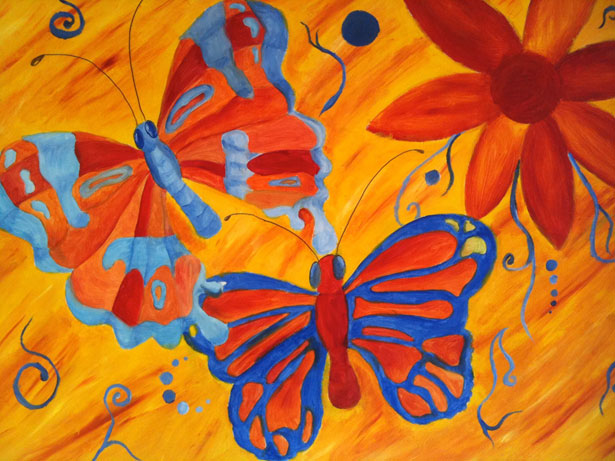 Two orange butterflies graphics