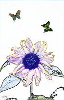 artistic sketch of two butterflies flying around flower