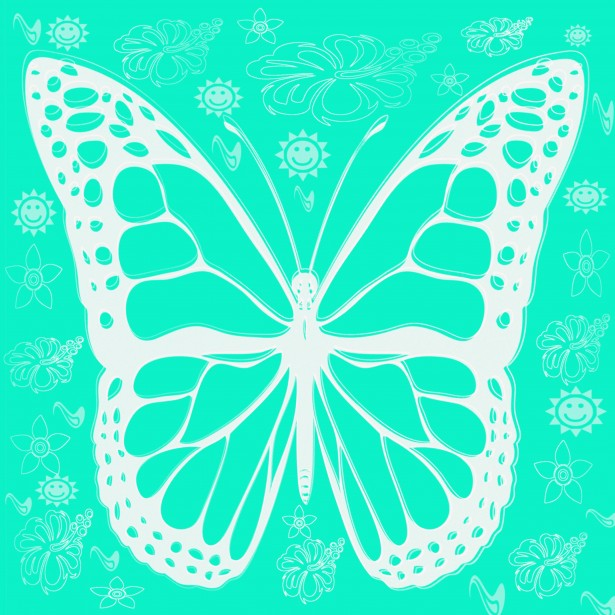digital artistic graphic blue white inverted butterfly