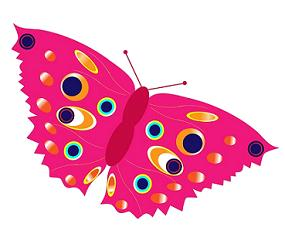 fun pink polka dotted wings butterfly clipart