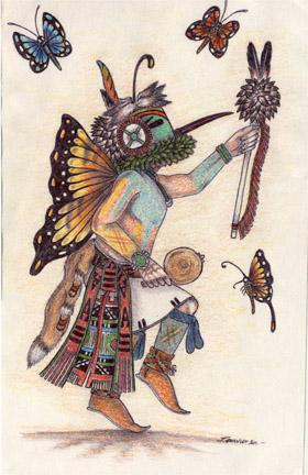 Native american butterfly kachina artwork