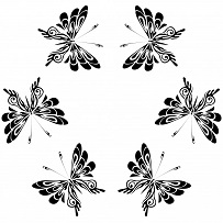 butterflies flying b&w clipart image