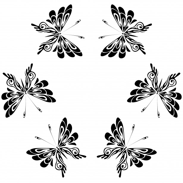 b&w butterfly circle dance symbol art