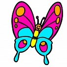 cartoon colored kids butterfly