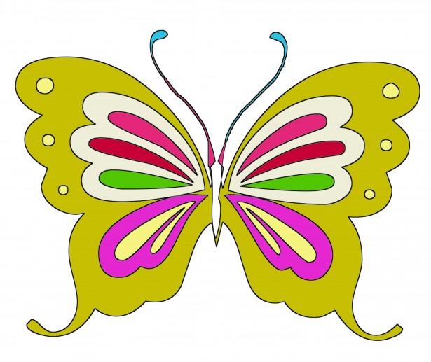 yellow colors butterfly clipart