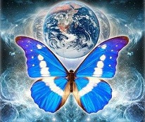 butterfly and planet earth cosmic digital art