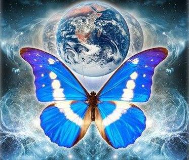 Cosmic butterfly and earth art