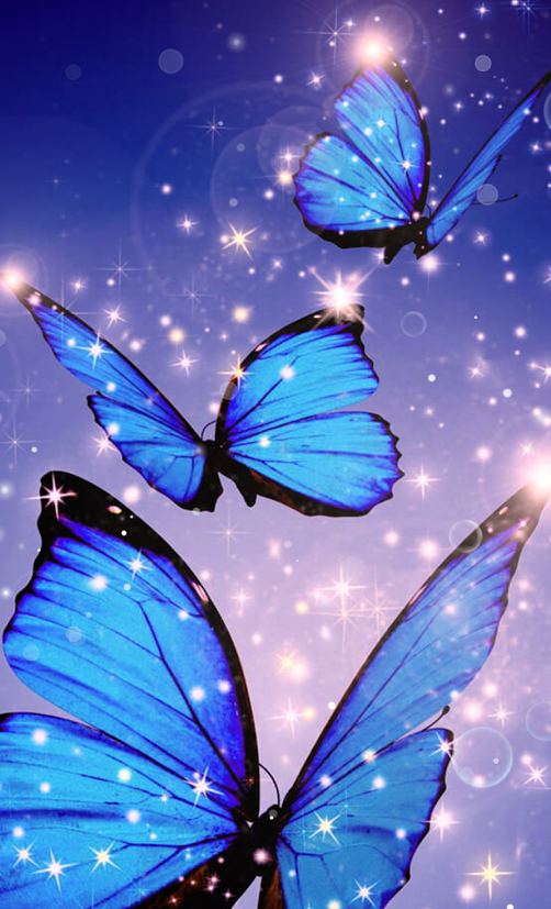 Cosmic glowing blue butterflies digital art