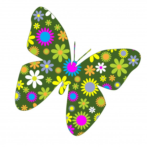 Retro hippie floral green butterfly