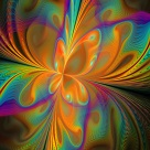 trippy abstract digital art - multicolored butterfly fractal