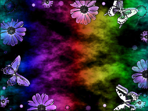 Rainbow color abstract butterfly art